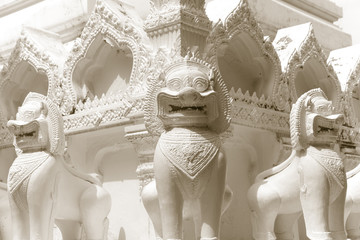 Lion guardian statues in Buddhism Temple