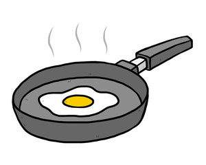 fried egg in flying pan