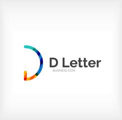 D letter logo, minimal line design