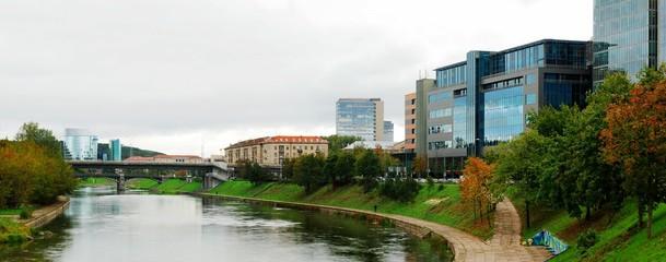 Vilnius city center river Neris and Zverynas bridge