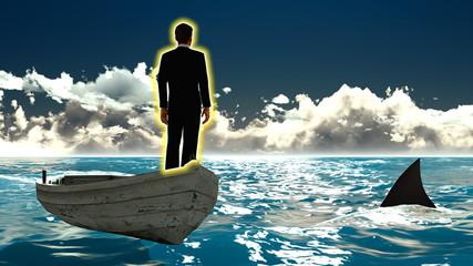 Businessman on boat & shark