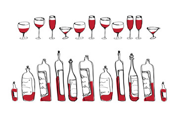 isolated vector wine bottles and glasses