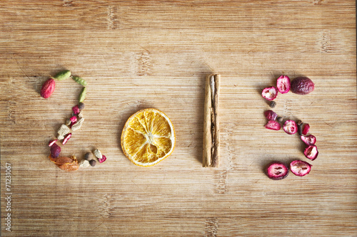 canvas print picture 2015 written with spices on wooden background