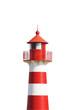 Leinwanddruck Bild - Rot-Weißer Leuchtturm vor Weiß