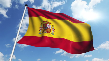 flag of Spain with fabric structure against a cloudy sky