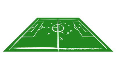 Football field in perspective. Training