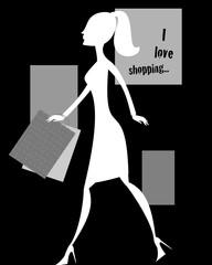 Silhouette bianca con shopping bags