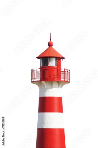 Tuinposter Vuurtoren / Mill Rot-Weißer Leuchtturm vor Weiß