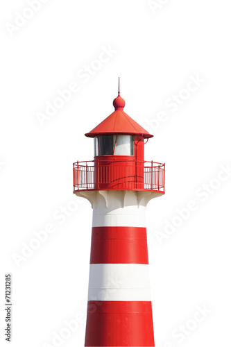 Foto op Canvas Vuurtoren / Mill Rot-Weißer Leuchtturm vor Weiß