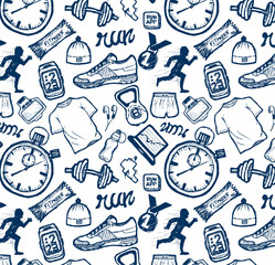 Run icons pattern set in doodle style, hand drawing