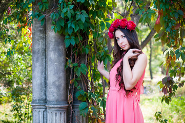 girl wearing a crown of roses