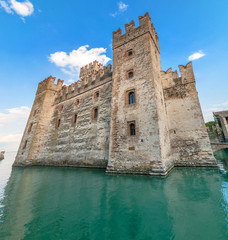 Sirmione castle on Lake Garda, Italy