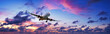 canvas print picture - Jet plane in a spectacular sunset sky