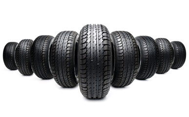 five tires formation isolated on white