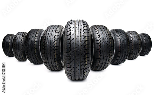 five tires formation isolated on white - 71231804