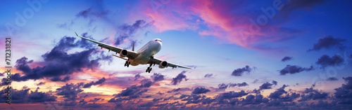 canvas print picture Jet plane in a spectacular sunset sky