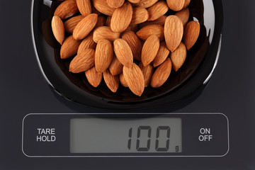 Almonds on kitchen scale
