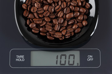 Coffee beans on kitchen scale