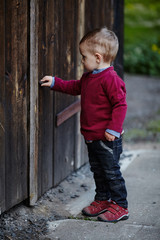 little boy tries to open old door