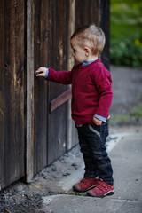 little boy tries to open old door