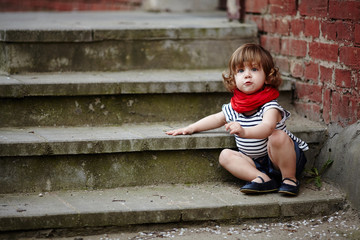 cute little girl on stairway