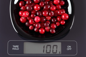 Cranberries on kitchen scale