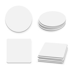 Round and square table coasters isolated on white background, ve