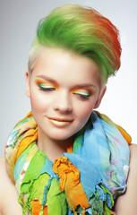 Woman with Vivid Multicolored Bob Haircut and Bright Makeup
