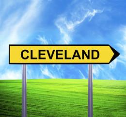 Conceptual arrow sign against beautiful landscape with text - CL
