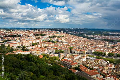 canvas print picture View of Croix Rousse Hill at Lyon city
