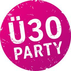 Lila Button Ü30 Party