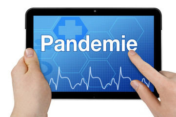 Tablet mit Interface und Pandemie