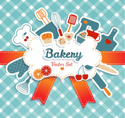 Bakery illustration. Kitchen background.