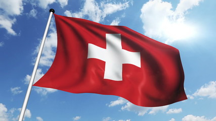 flag of Switzerland with fabric structure against a cloudy sky
