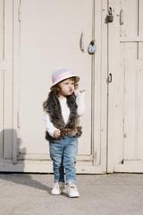 little beautiful cute girl urban portrait