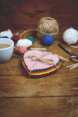 Set of vintage crocheted colorful heart shaped coasters