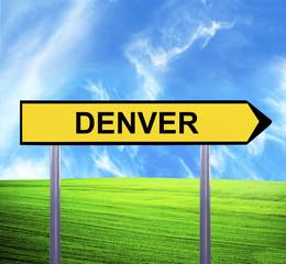 Conceptual arrow sign against beautiful landscape with text - DE