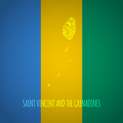 Low Poly Saint Vincent and The Grenadines Map with National Colo