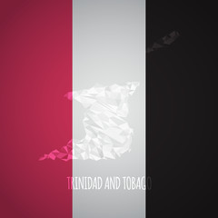 Low Poly Trinidad and Tobago Map with National Colors