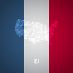 Low Poly USA Map with National Colors