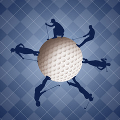 Golfers silhouette on golf ball