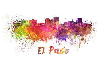 El Paso skyline in watercolor