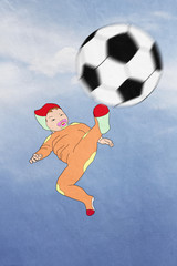 funny Kid scores.  football, easiness