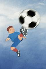 funny Kid scores.  football