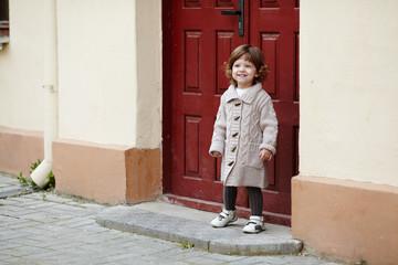 little girl urban stylish portrait