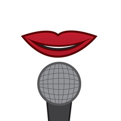 Isolated lips singing or talking into large microphone