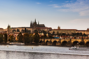 The Prague Castle and Charles Bridge in Czech Republic