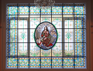 Stained glass window, Great hall of the Moscow Conservatory