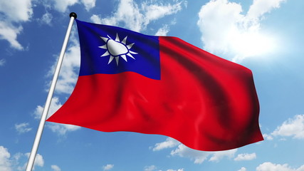 flag of Taiwan with fabric structure against a cloudy sky