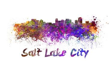 Salt Lake City skyline in watercolor